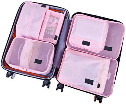 8個のPCSパッキングキューブ、トラベルラゲッジオーガナイザースーツケースパッキングキューブパッキングオーガナイザートラベルラゲッジバッグシューズ収納袋,ピンク