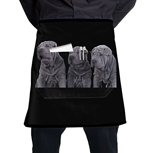 Nicokee Chef Aprons Three Shar Pei Dogs Waist Tie Half Bistro Apron Home Kitchen Cooking