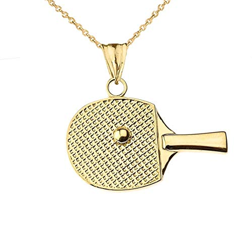 Fine 14k Yellow Gold Table Tennis Racket and Ball Sports Charm Pendant Necklace, 20