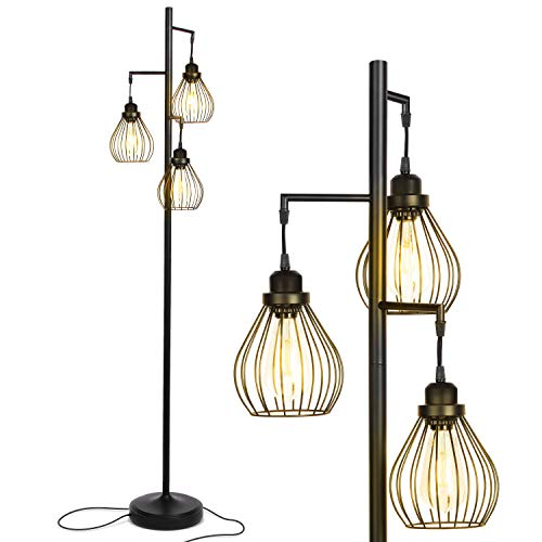 Brightech Teardrop – Floor Lamp Matches Industrial, Farmhouse & Rustic Living Rooms – Standing Tree Lamp with 3 Elegant…