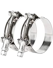 ISPINNER 2 Pack Stainless Steel T-Bolt Hose Clamps for Hose