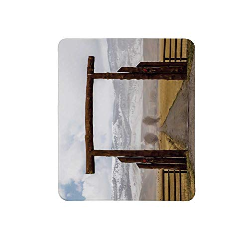Western Non Slip Mouse Pad,Big Log Gate Lane Montana Cattle Ranch in Winter Countryside Hills Cloudy Sky Decorative for Home & Office,11