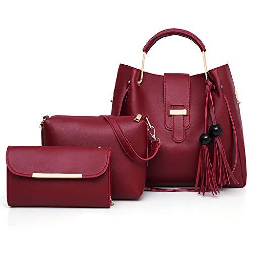 Hot Sale! Clearance! Women Bag,WEISUN Women Leather Handbag Shoulder Bag Messenger Satchel Shoulder Crossbody 2019 (33X13X31cm, Wine)