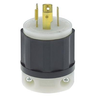 Leviton 2411 20 Amp, 125/250 Volt, NEMA L14-20P, 3P, 4W, Locking Plug, Industrial Grade, Grounding - Black-White