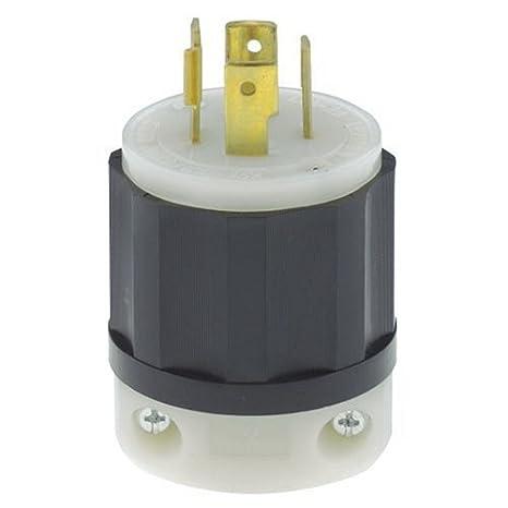 leviton 2411 20 amp, 125 250 volt, nema l14 20p, 3p, 4w, locking plug, industrial grade, grounding black white