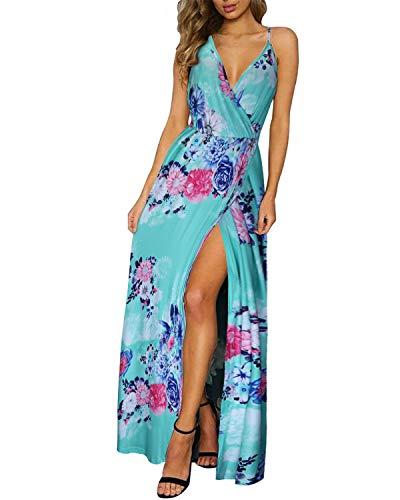 II ININ Women's Deep V-Neck Strap Casual Floral Print Maxi Split Dress(Floral04,S)