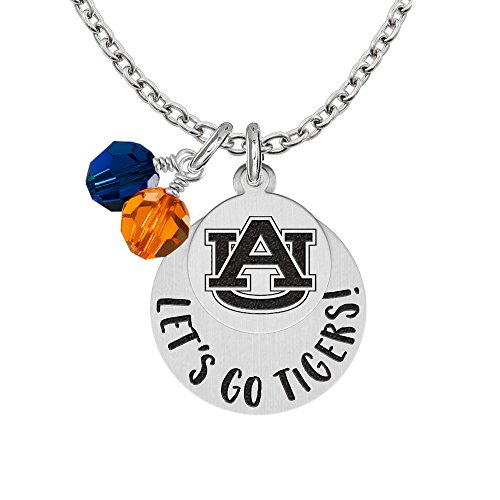 Auburn Tigers GO Necklaces With Round Charm and Crystal Accents ()