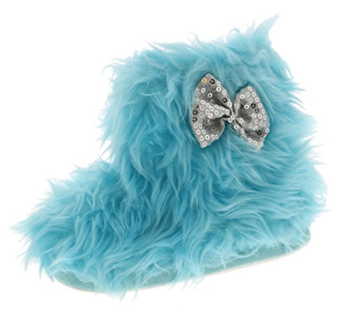 Chatties Toddler Girls Rock Star Furry Slipper Boots (Small 5/6, Blue) (Cheap Girly Gifts)