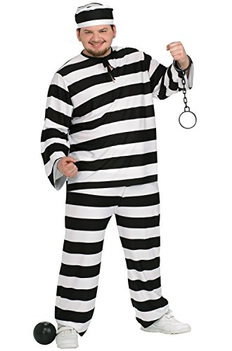 Convict Man Plus Size Adult Costume - Plus Size (Prisoner Costume Ideas)