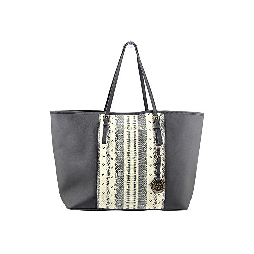 Michael Kors Jet Set Center Stripe Medium Travel Totebag, Medium, Snake/Black by MICHAEL Michael Kors