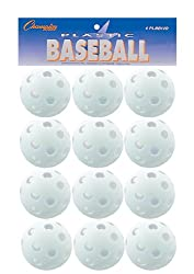 Champion Sports White Plastic Baseballs: Hollow Balls For Sport Practice Or Play - 12 Pack