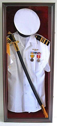 Military Shadow Box Uniform Sword Gun Pin Display Case Frame Cabinet