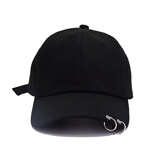(BTS Women Men Adjustable Embroidery 2 Rings Baseball Cap K-Pop Hip Hop Bangtan Boys Casual Adjustable Trucker Hat (Black))
