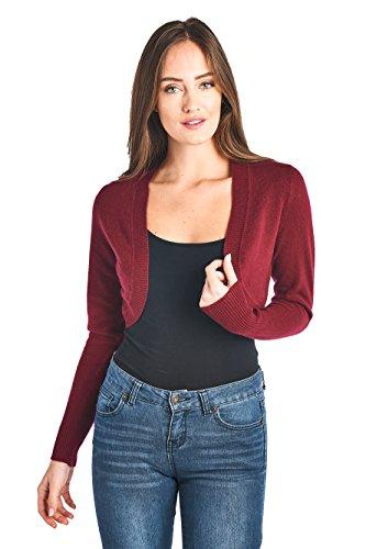 Mariyaab Women's 100% Cashmere Long Sleeve Bolero Shrug Open Cardigan Sweater (17618, Burgundy, - Shrug Cashmere