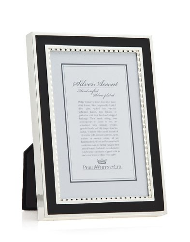 picture of 5x7 Silver W Black Enamel Picture Frame