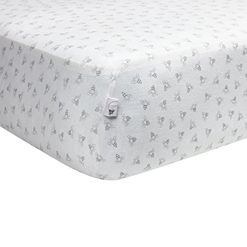 Burt's Bees Baby - Honeybee Print Fitted Crib Sheet, 100% Organic Crib Sheet for Standard Crib and Toddler Mattresses (Heather Grey)