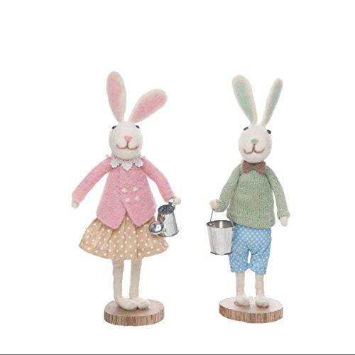 GALLERIE II Garden Spring Easter Bunny Rabbit Couple Assortment of 2 Figures Figurines Decor Decoration Garden Bunny Couple Assortment of 2 from GALLERIE II