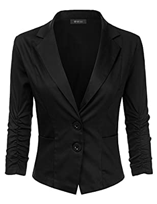 DRESSIS Women's Long Sleeve Double Button Cinched Sleeve Blazer S-3XL (12 Colors)