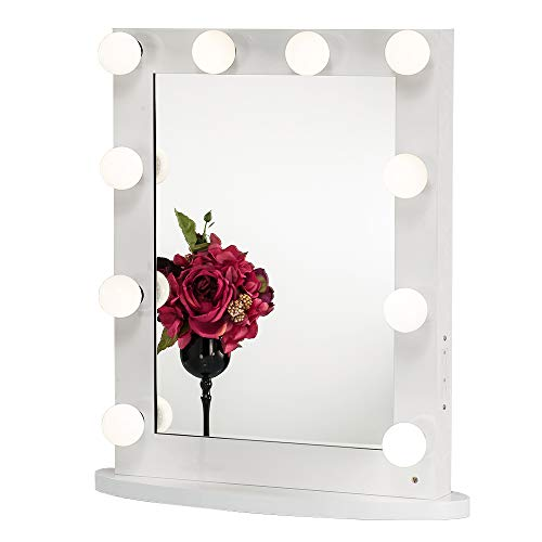 Joyful Store White Hollywood Makeup Mirror,Lighted Vanity Mirror,Tabletop or Wall Mounted Cosmestic Mirror with LED Lights,Back Stage Beauty Mirror with 12 Free Dimmer ()
