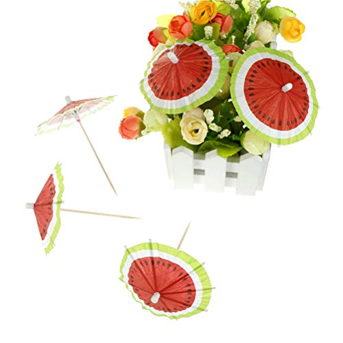 (Cake Decorating Supplies - Watermelon Umbrella Cake Per Picks Drinks Birthday Wedding Party Cocktail Parasols 50pcs - Corn Year Baby Round Molds Colors Bags Icing Butter Professionals Mold Stor)