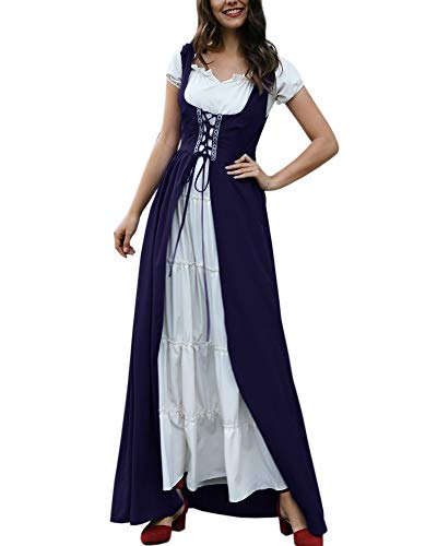 Dellytop Womens Renaissance Costumes Medieval Irish Dress Victorian Retro Gown -