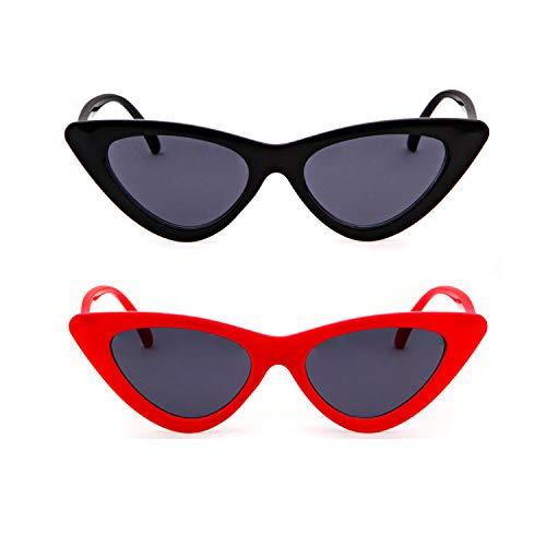 para de amp; estilo Negro de mujeres Gafas gato sol Kurt de ADEWU Rojo 2pcs sol protección de retro ojo vintage Cobain de niñas gafas Gafas zwgx407g