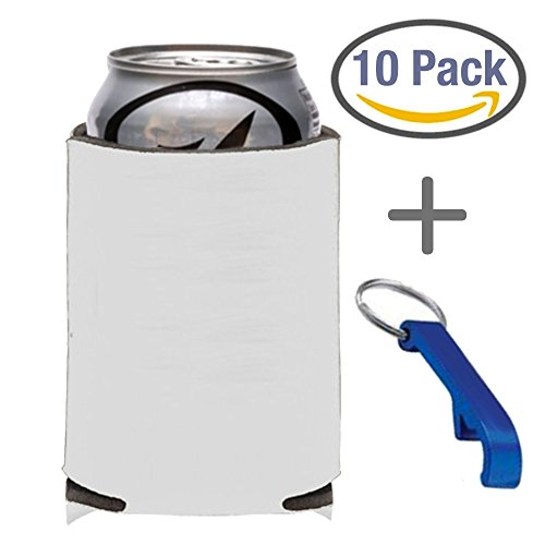 10-Count White Can Cooler Party Packs With Bottle Opener, 7 Colors To Choose From, Economy Blank 12 oz. or 16oz. Can Coolers Perfect for Weddings, Events, and Custom DIY Projects