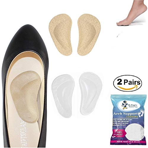 Medical Arch Support Insoles for Flat Feet Arch Support Gel Foot Cushions High Arch Cushions Shoe Insoles Women & Men Shoe Inserts for Foot Pain Relief, Skin+Clear Color