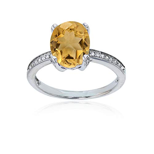 (14K White Gold 0.08 CTTW Round Diamond Channel Set & 10x8 Oval Citrine Engagement Ring)