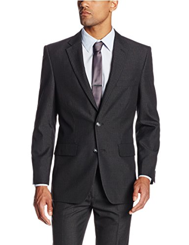 Haggar Men's Shadow Pin Stripe Tailored Fit 2 Button Side Vent Suit Separate Coat, Black, 40 S