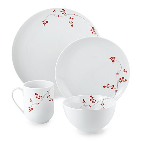 Berries 16 Piece Set (Mikasa Gourmet Basics Red Berries 16-Piece Dinnerware Set made of Porcelain, Microwave safe for reheating and Dishwasher safe, White)