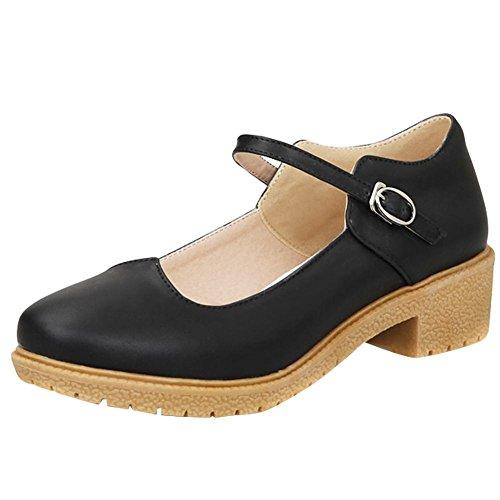 Mee Shoes Damen chunky heels ankle strap Geschlossen Pumps Schwarz