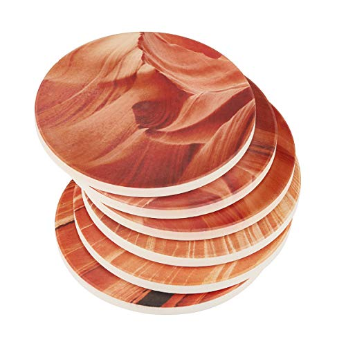 DOWAN Absorbent Stone Coasters, Drink Spills Coasters Set, Natural Grand Canyon Varying Patterns, Multicolor, Set of 6 by DOWAN