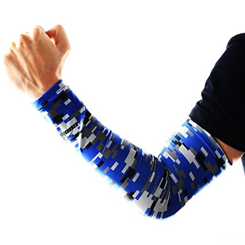 COOLOMG Youth Anti-Slip Arm Sleeves Cover Skin UV Protection Sports Adult, Digital Blue, Small