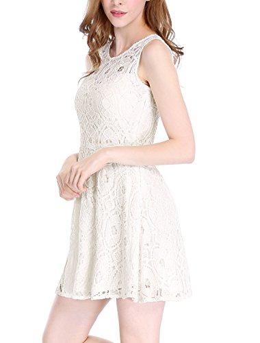Flare K Off Women's Mini Sleeveless Lace Allegra Line A White Dress Floral d6XZwXqO
