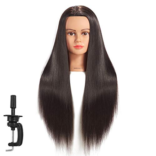 Hairginkgo Mannequin Head 26-28 Super Long Synthetic Fiber Hair Manikin Head Styling Hairdresser Training Head Cosmetology Doll Head for Cutting Braiding Practice with Clamp (91812LB0220)
