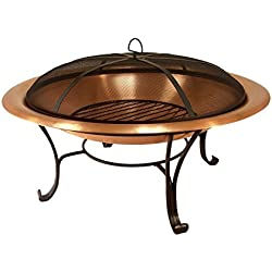 "Catalina Creations 30"" Solid Copper Fire Pit with Log Grate, Spark Screen, with Lift Tool"