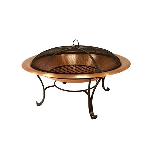 """Catalina Creations AD112 30"""" Solid Copper Fire Pit, 30 inch - STYLISHNESS: Contemporary solid hammered copper fire pit with a 4 legged powder-coated constructed base made from wrought iron - beautiful addition to a backyard, beach, camper, vacation home or cabin. QUALITY FEATURES: Copper constructed to accommodate larger fires - 30"""" diameter X 12"""" high, weighs 20 lbs. poker, log grate, metal weaved spark screen, and storage cover included. PRACTICAL DESIGN: As well as a fire pit it can also function as a decorative patio accent, beverage stand, or a unique indoor arrangement. The fire pit easily assembles with basic tools. - patio, outdoor-decor, fire-pits-outdoor-fireplaces - 41VrvXiHK7L. SS570  -"""