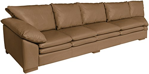 Omnia Leather Fargo Left Arm 4 Cushion Sofa with Half Curve in Leather, Standard No Nail Head, Softstations Buckskin
