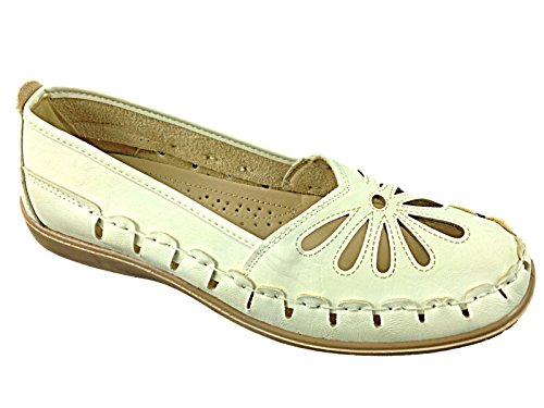 Mocassino Ladies Casual 8 3 On Shoe Summer Sandal Laser Cut Footwear Slip Flat Bianco Foster Taglia qUTwfEgT