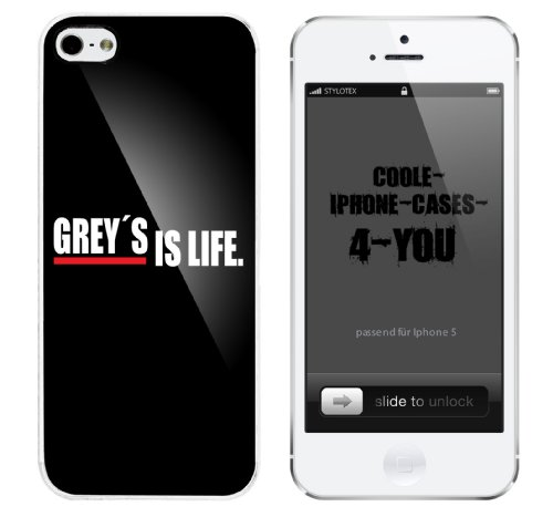 Iphone 5 Case Grey s is life Rahmen weiss