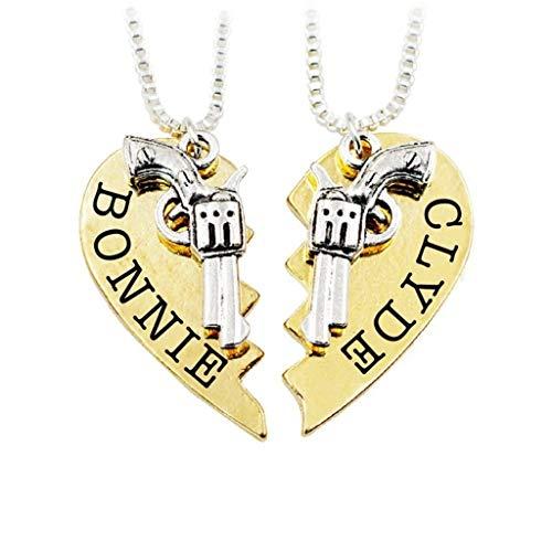 ZHX 1 Pair 2pcs Bonnie Clyde Pendant Necklaces Guns Heart Friendship Best Friends Forever Keepsake Gift Gold one Size