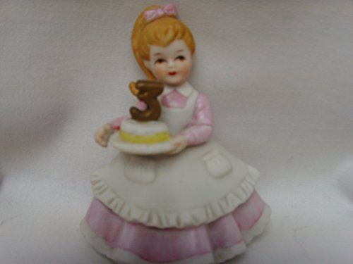"""Lefton China Hand Painted 3.5"""" Birthday Girl Collectible ; Age 3"""