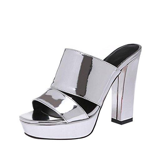 Tacones Zapatos Chanclas Mujer Plata De Charol La Gruesos Sandalias Boca Pescado Y Altos Pantuflas rTqFrnwXCx