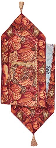HomeCrate Fall Harvest Collection, Tapestry Pumpkins and Autumn Leaves Design Table Runner, 13