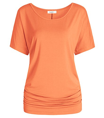 Esenchel Women's Short Sleeve Dolman Top Scoop Neck Drape Shirt 2X Orange -