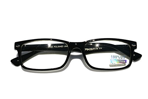 Casual Fashion Horned Rim Rectangular Frame Clear Lens Eye Glasses (Black) -
