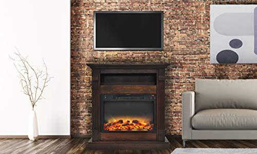 Cheap Cambridge CAM3437-1WALLG2 Sienna 34 In. Electric Fireplace w/ Enhanced Log Display and Walnut Mantel Black Friday & Cyber Monday 2019