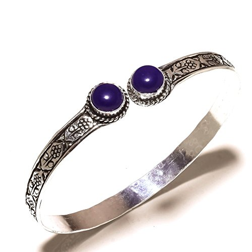 Pretty! Blue Dyed Sapphire Sterling Silver Overlay 10 Grams Bangle/Bracelet Free Size by Shivi
