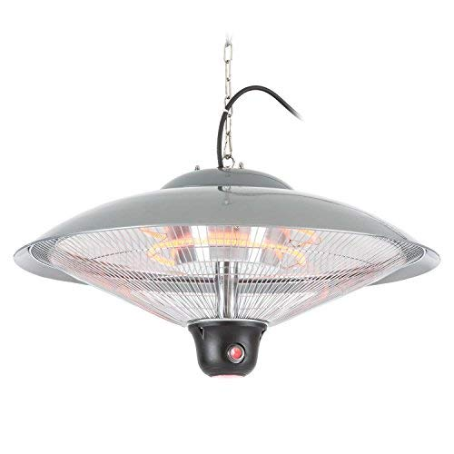 luxe Ceiling Heater Hanging Lamp • IR ComfortHeat • LED Lighting • Carbon Heating Element • incl. Chain • Remote Control • Silver ()